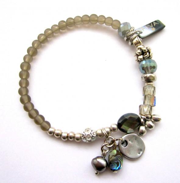 Armband Khaki Silber mit Perlmutt