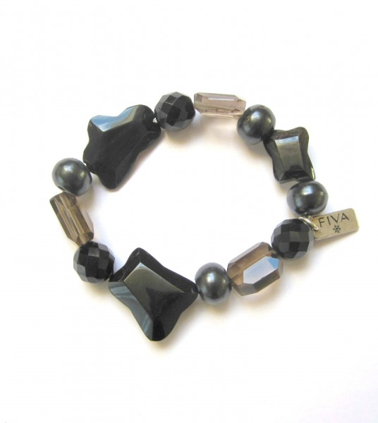 Fiva Armband Onyx & Smoked Quartz
